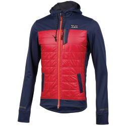 PEARL iZUMi Versa Quilted Hoodie eclipse blue rogue red