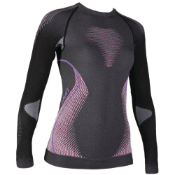 UYN Lady Evolutyon Shirt long sleeve anthracite melange / raspberry / purple