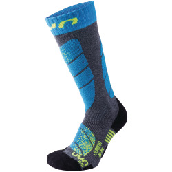 UYN Junior Ski Socks medium grey melange / turquoise